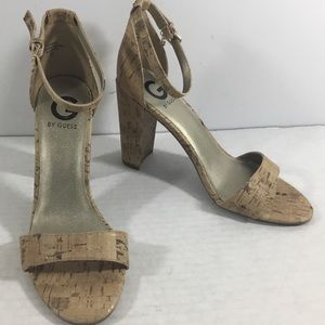 G By Guess Shantel3 Cork Chunky Heel Sandals New